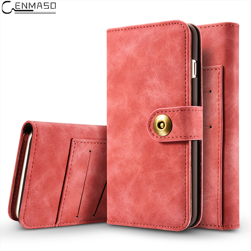 for IPhone X 6 6S 7 8 Plus Case Flip Cover PU Leather 2in1 Multi Card Wallet Magnet Split Cover for iPhone 7 Plus 6s Plus Case