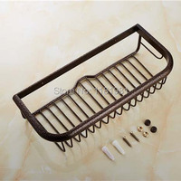 Antique Brass Brown Wall Mounted Shower Basket Classic Bathroom Cosmetic Holder Storage Shelf F 515