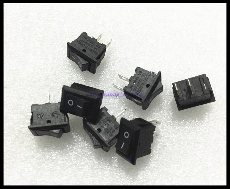 50pcs/Lot 2 Pin ON/OFF  I/O 10*15MM SPST Snap in Mini Boat Rocker Switch 3A 250VAC 6A 125VAC Brand New 5pcs black oval rocker boat switch 3pins single pole double throw 3positions on off on snap in panel mount 10a 125vac 6a 250vac