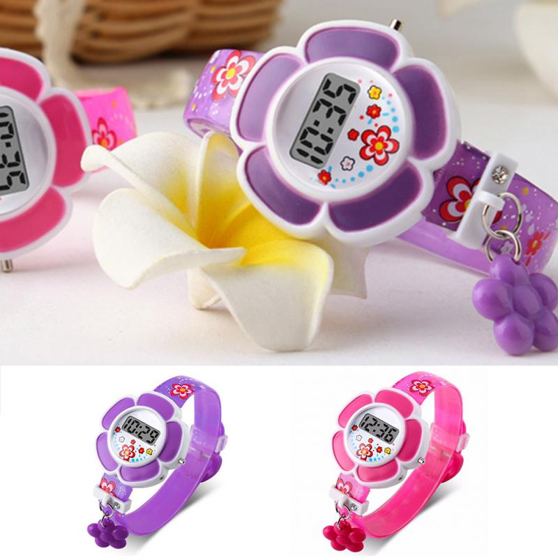 Cute Flower Kids Fashion Digital Wrist Watch Cartoon Watches For Kids Girls Children Gifts Dropshipping Pink Purple Safe
