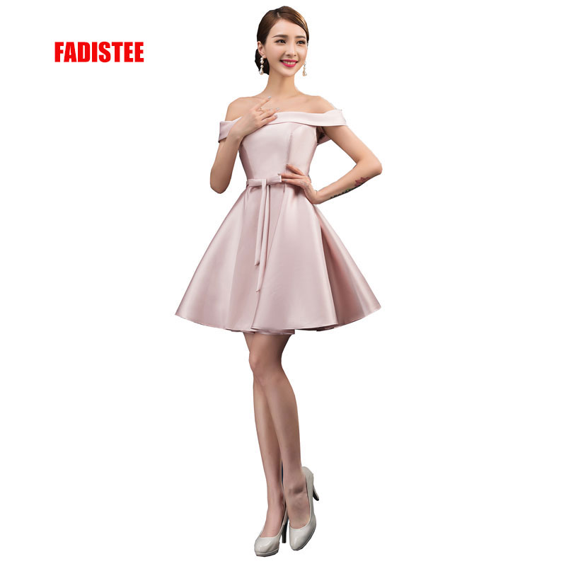 FADISTEE New Arrival Simple Cocktail Party Dresses Vestido De Festa Boat Neck Lace-up Short Style Dresses Satin Ribbons Bow