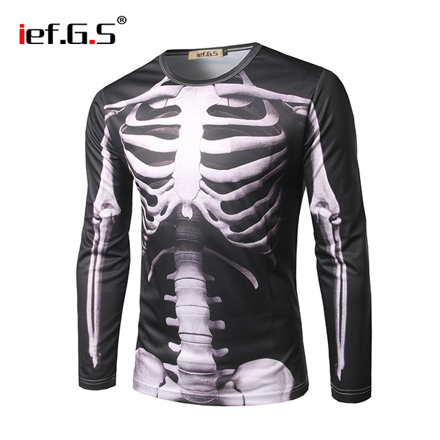 62f9e41321 G.S Halloween Cloth Men's Casual Long Sleeve 3D Skeleton Print T-shirt All  Saints' Day Accessories Scary Halloween Costumes