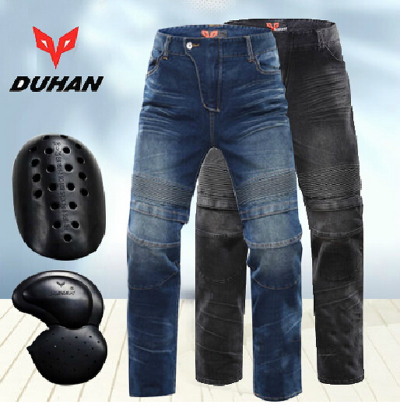 DUHAN Stretch Motorcycle Racing font b jeans b font Moto Riding pants Locomotive Hockey Pants Male