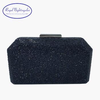 RN New Rhinestone Party Clutch Metal Hard Box Clutch Bag With Chain Evening Handbags Crystal Evening Clutch Bags Black фото