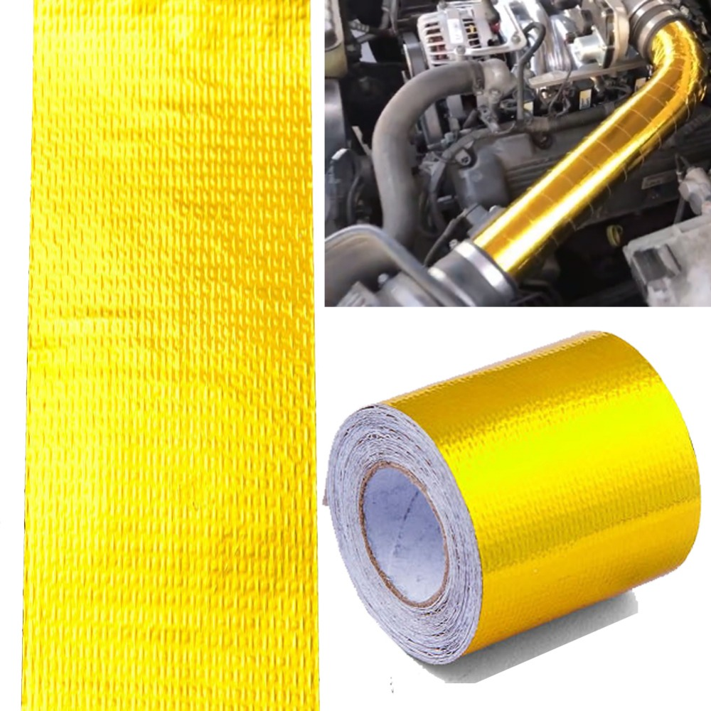 5M*5cm Car Thickened Heat Shield For Thermal Racing Reflective Aluminum Foil Tape Auto Engine Pipe Cover Temperature Isolat