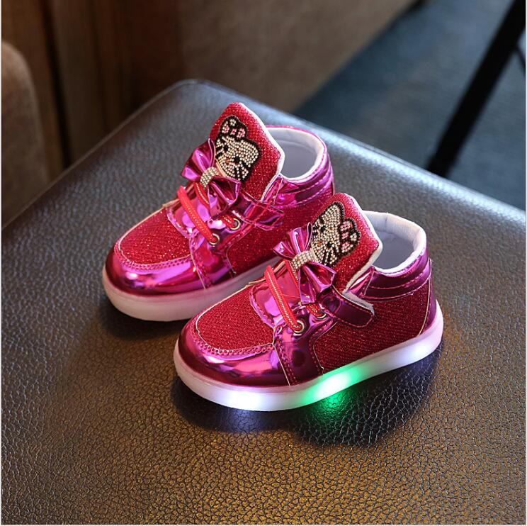 New-Cartoon-Cat-Diamond-Princess-Girls-Sports-Shoes-Autumn-Winter-Cartoon-LED-Sneakers-Korean-Children-High-Top-Boots-Kids-Shoes-2