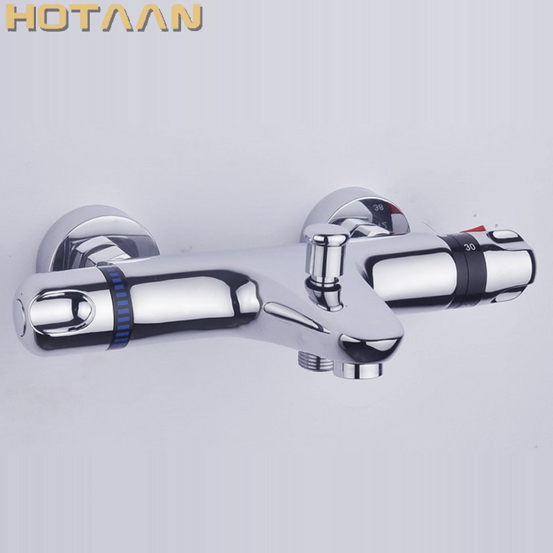 Free Shipping Wall Mounted Two Handle Thermostatic Shower mixer Thermostatic faucet , Shower Taps Chrome Finish,YT-5305-B modern thermostatic shower mixer faucet wall mounted temperature control handheld tub shower faucet chrome finish