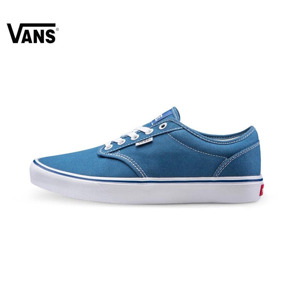 Original Vans New Arrival Blue Color Low-Top Men's Skateboarding Shoes Sport Shoes Sneakers original vans black and blue gray and red color low top men s skateboarding shoes sport shoes sneakers