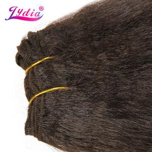 Image 2 - Lydia dla kobiet Kinky prosto fala 12 22 Cal syntetyczne falowanie włosów rozszerzenia czysty kolor #4 wiązki włosów 110 g/paczka
