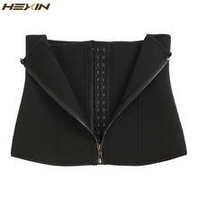 HEXIN Double Control Waist Trainer Corset Body Shaper Tummy Fat Burning for Hourglass Sweat Sauna Waist Trainer Slimming Belt
