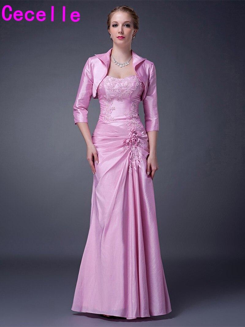 Long Floor Length Pink Taffeta Elegant Formal Mother Of ...