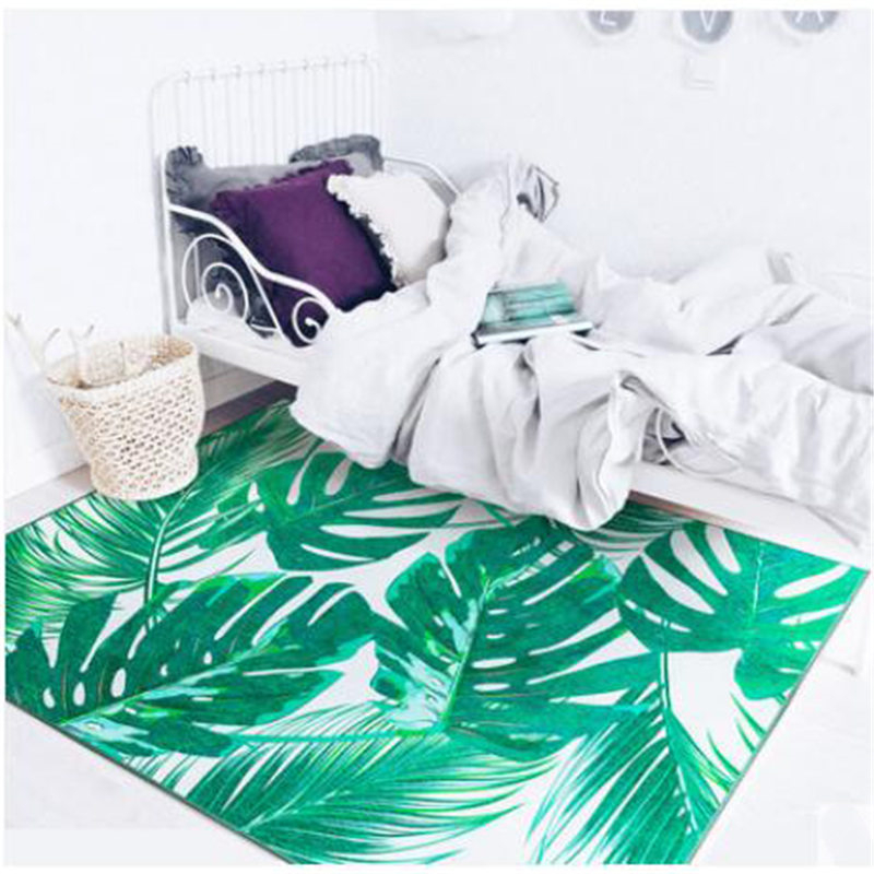 2018 New Fashion Nordic Style Green Leaf Carpets For Living Room Bedroom Kid Room Rugs Home Carpet Floor Door Mat Hot Area Rug