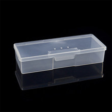 Plastic Nail Supplies Tools Storage Box Rectangle Nail Art Studs Brushes Tools Holder Case 1PC  Pink/White Transparent