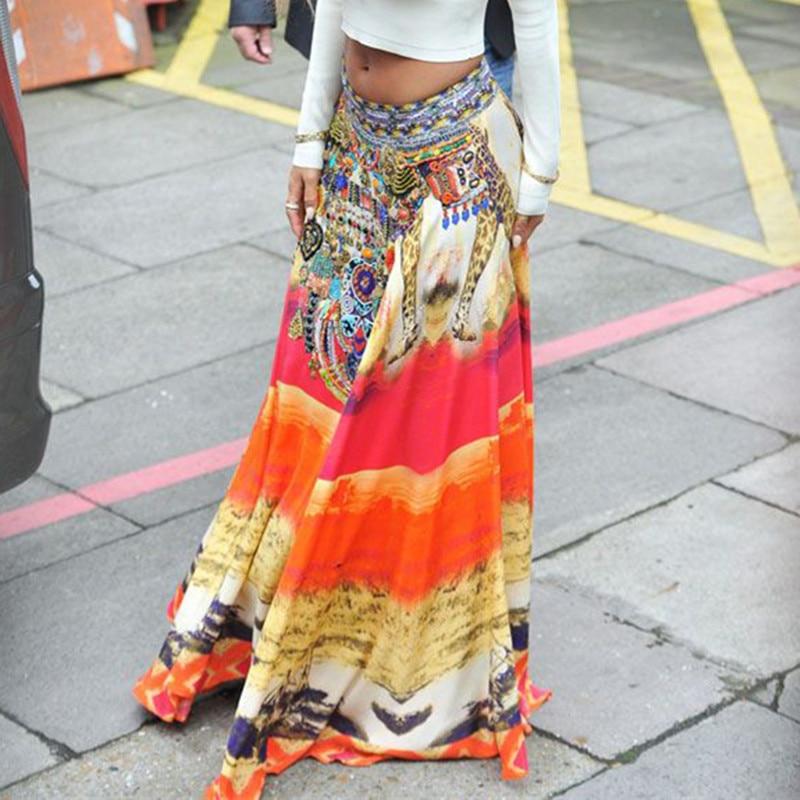 Jessie Vinson Summer Beach Plus Size Bohemian Vintage Style Loose Long Skirt Elastic Waist Ice Silk Print Maxi Skirt For Women