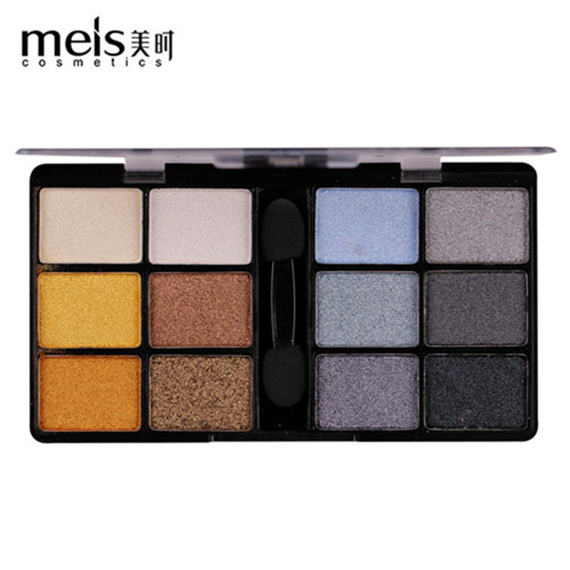 MEIS New Arrival Charming Eyeshadow 12 Color Eye Shadow Palette Make Up Palette Shimmer Pigmented EyeShadow Powder Fashion Color