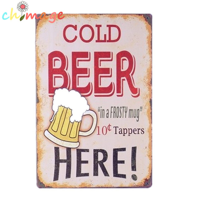 Cold Beer In A Frosty Mug Vintage Tin Sign Bar Pub Home Wall Decor Retro Metal