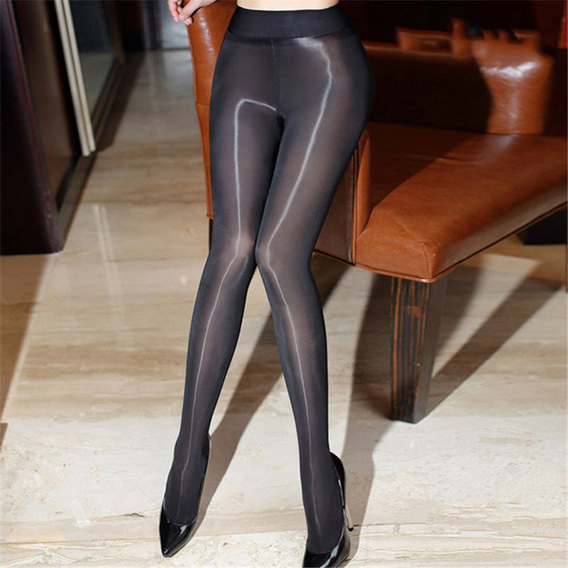8D High Waist Oil Shiny Sexy Tights For Women Sexy Lingerie Hot See Through Gloss Sexy Pantyhose Sheer Nylon Stockings Medias