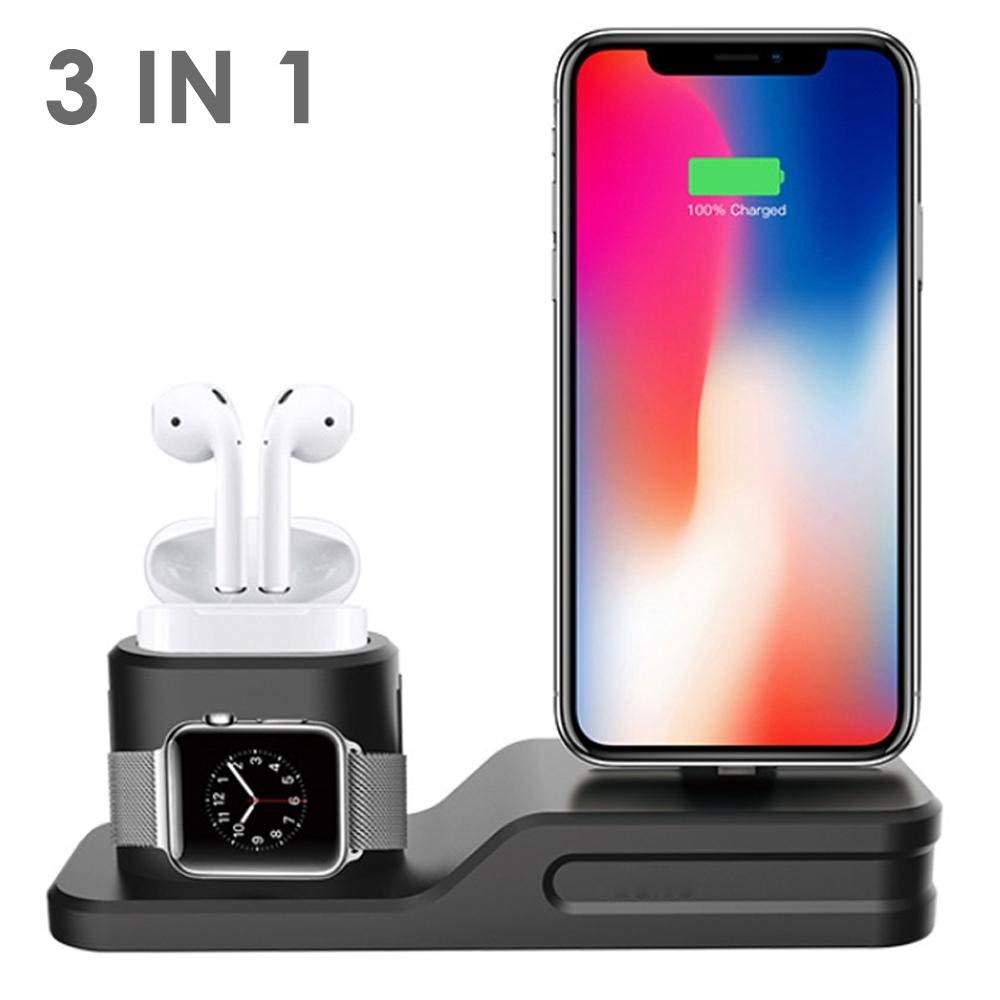 3 in 1 In Silicone per Airpods Caso del Caricatore per Apple Airpods Accessori Del Bacino Del Basamento Del supporto Del Telefono Mobile per iphone di Apple orologio