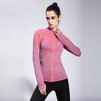 FlANDIS Yoga Shirt Women Jogging Fitness Tight Orange Jacket Running Sports Outdoor Jacket zip Gym Jersey Top Sport Shirt