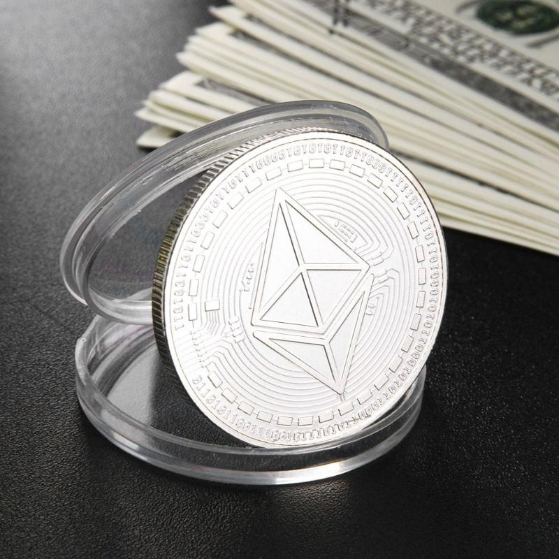 Silver/Gold Plated Ethereum Coin commemorative Coin Litecoin Art Collection Gift Physical Antique Imitation Home Decoration