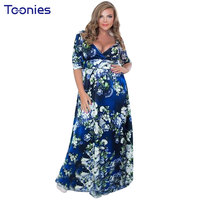 Summer Women Dresses Sexy V Collar Wrapped Chest Plus Size L 6XL Floral Printed Slim Long