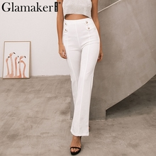 Glamaker Casual high wasit wide leg pants Women button maxi pants trouseses Autumn streetwear elegant female pants bottom(China)
