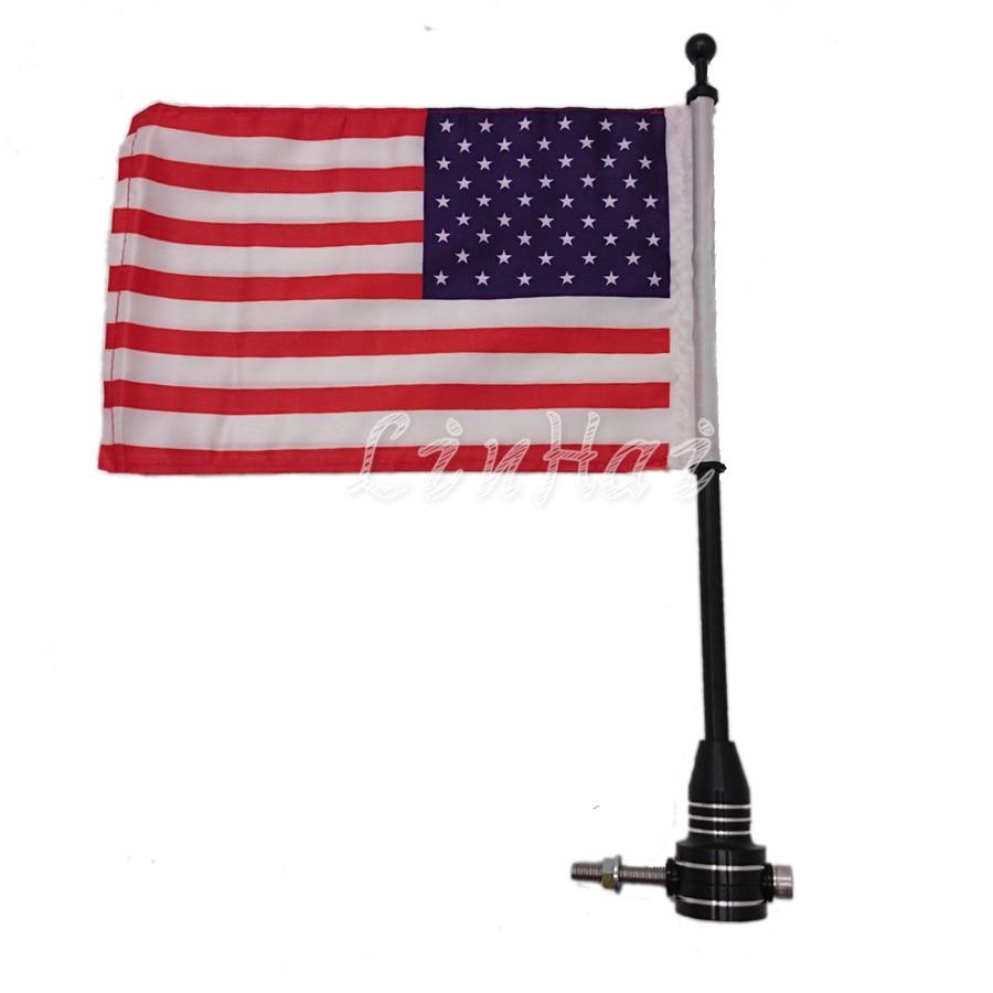 Motorfiets Zwart Bagagerek Verticale Flag Pole Amerikaanse Voor Harley Sportster 883 1200 48