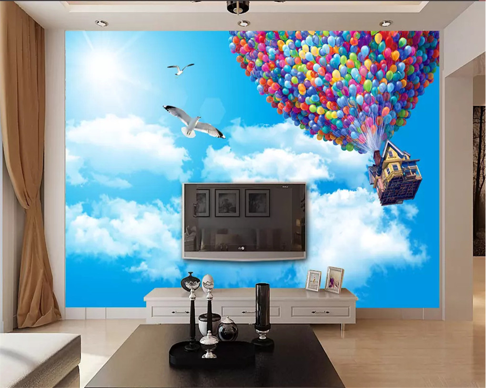 beibehang Wallpaper for kids room wall 3 d romantic beautiful blue sky balloon decoration mural background 3d paper