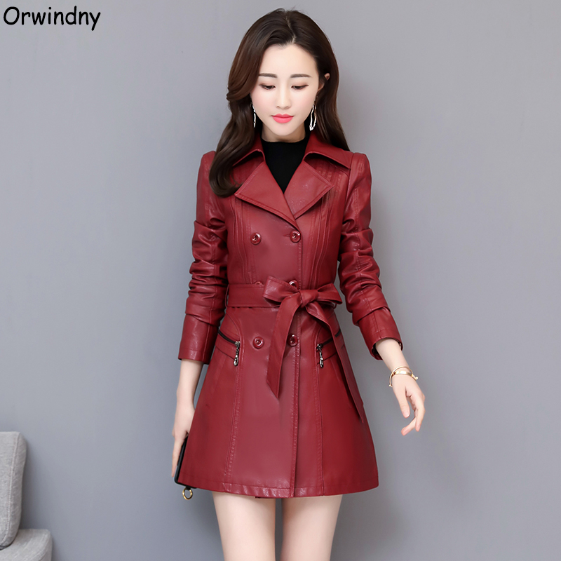 Orwindny Slim Fashion   Leather   Trench Coats Women Spring Autumn Sashes   Leather   Clothing Female Office Lady Trench High Quality