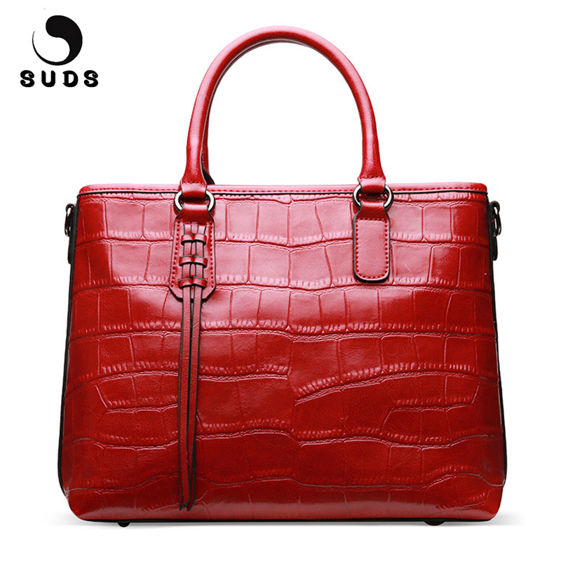 SUDS Brand Luxury Handbags Women Bags Designer Genuine Leather Alligator Bag Female New Cow Leather Shoulder