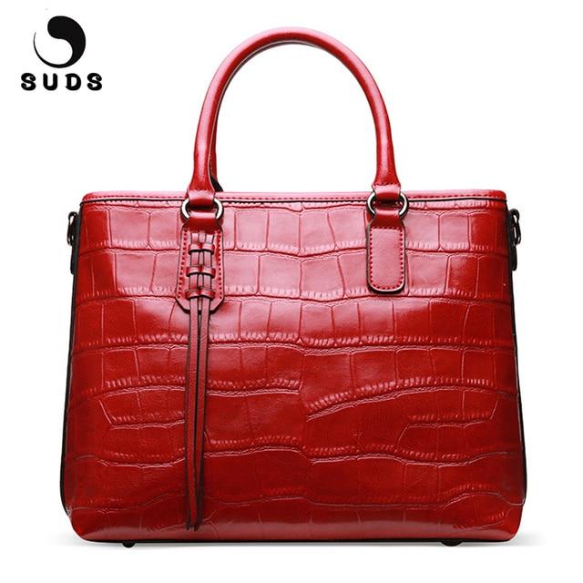 Suds Brand Luxury Handbags Women Bags Designer Genuine Leather Alligator Bag Female New Cow Shoulder