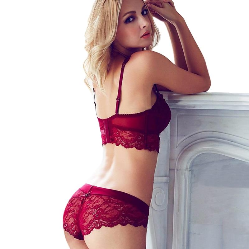 7bc6173fa Victoria Novas Mulheres Sexy Conjunto de Sutiã Ultra fino de Renda Preta  Vermelha Ajustável sutiãs Cuecas Plus Size Empurrar Para Cima Calcinha Sutiã  ...