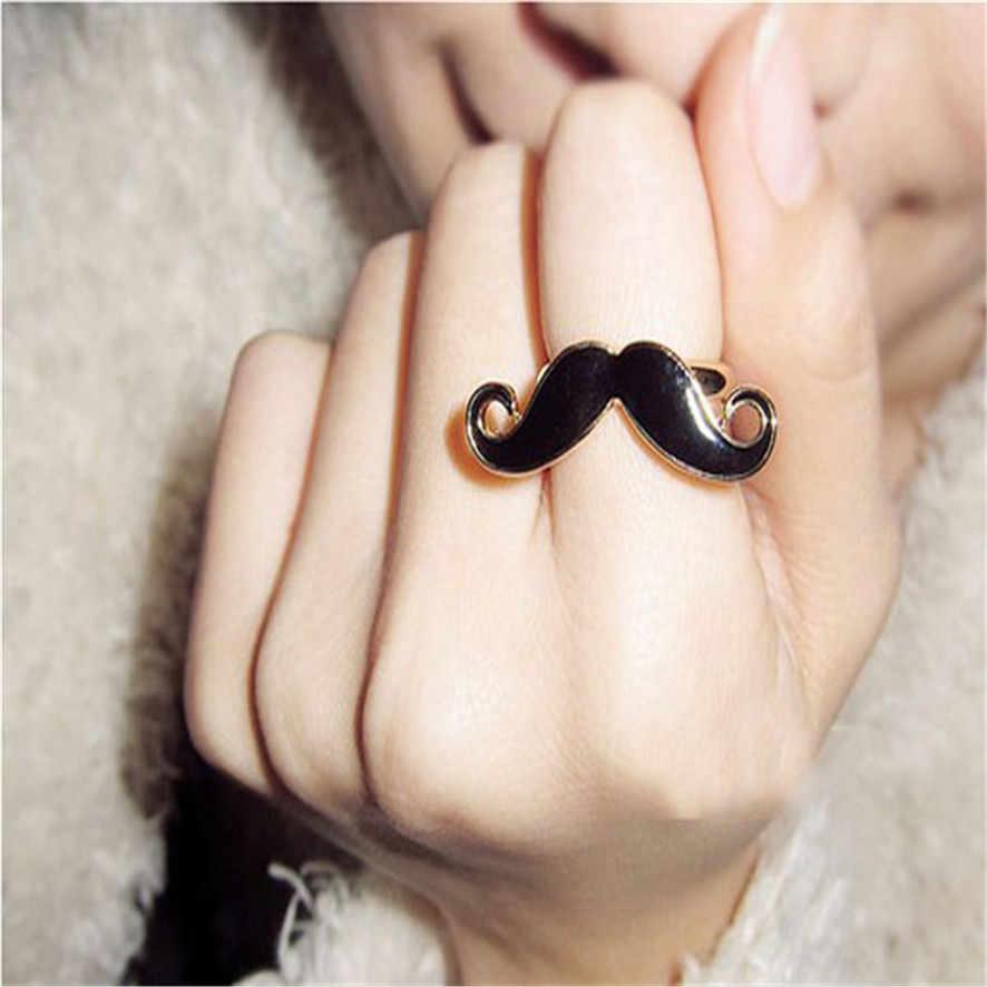 Beat ราคาร้อนแฟชั่นผู้หญิง Retro Handlebar หนวดเคลือบฟันน่ารัก Avanti เครานิ้วมือแหวน 10 #0.18