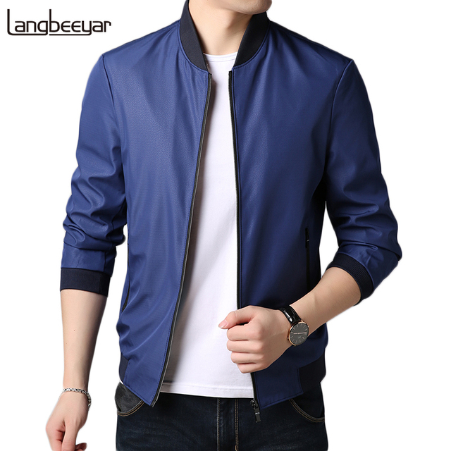 2019 New Fashion Brand Clothing Jacket Men Casual Solid Mandarin Collar Color Mens Coat Autumn Jacket Anti-pilling Men Jacket