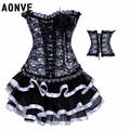 Women Corsets and Bustiers With Mini Skirt Lace Up Hot Shapers Sexy Ligerie Set  Black White Dobby Slimming  Wear