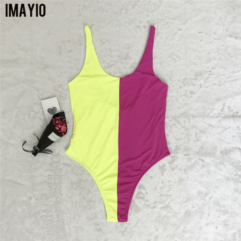 246377ca557 Imayio women one piece swimsuit patchwork backless Beachwear sexy bathing  suits good quality wire free swimwear-in Body Suits from Sports &  Entertainment on ...