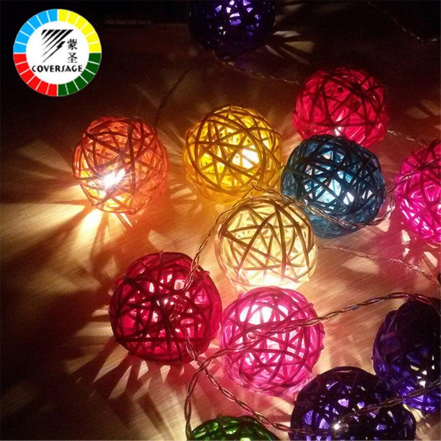 Coversage 20 Led Natal Luzes Rattan Ball Luci Fata String Tenda Led Di Natale di Natale di Cerimonia Nuziale Del Partito Della Decorazione del Giardino di Festa