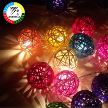 Coversage 20 Leds Natal Luzes Rattan Ball String Fairy Lights Curtain Led Christmas Xmas Wedding Decoration Party Garden Holiday(China)