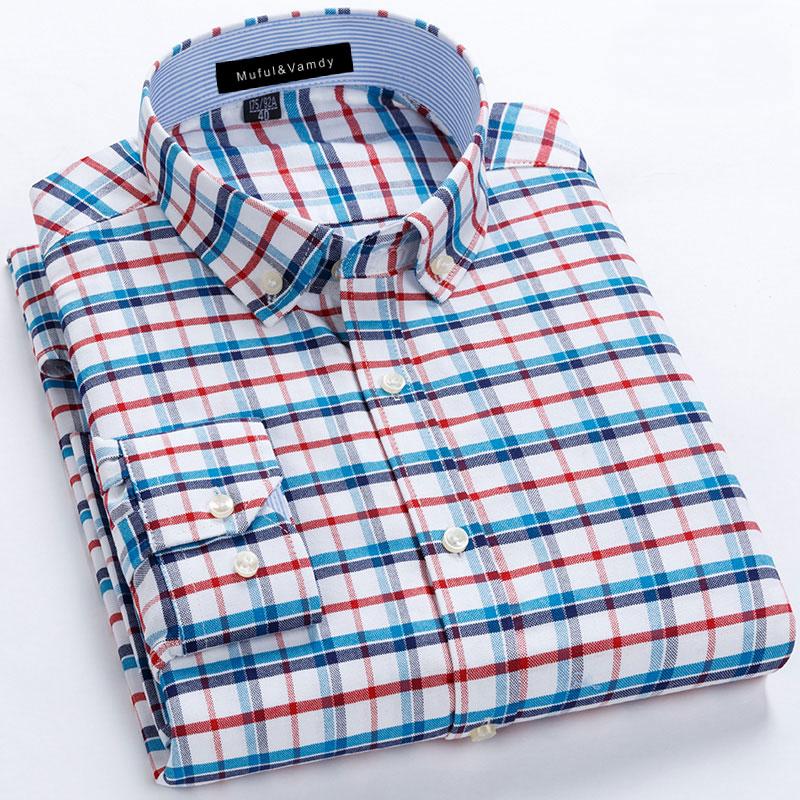 New 2019 Fashion 100% Cotton High Quality Social Men's Plaid Dress Shirts Long Sleeve Formal Soft Business Casual Oxford Shirt