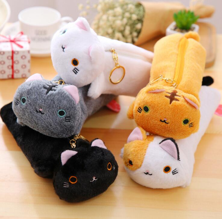 Japanese Style Cute Varied Color Cat Pencil Canvas Case Stationery Storage Organizer Bag School Office Supply Escolar