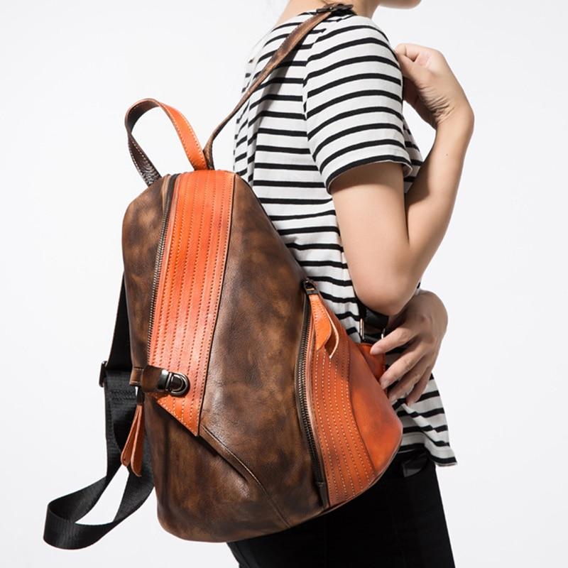 High Quality Natural Skin Vintage Rucksack Daypack Student Knapsack Brush Color School Travel Bag Genuine Leather