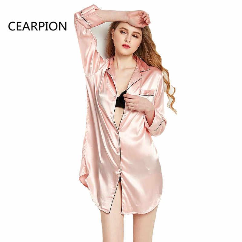 27ec6fc82e0dc CEARPION летние пикантные ночная рубашка Женское ночное белье атлас Ночное  повседневное Домашняя одежда интимное Нижнее белье