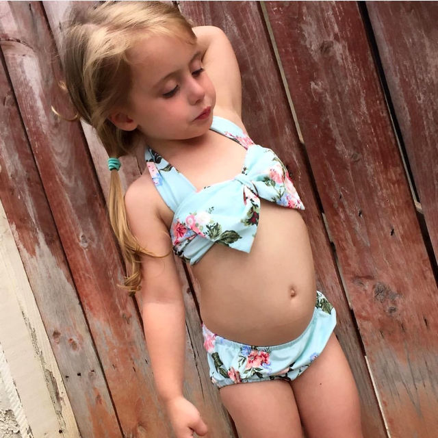 Two Piece Little Girls Floral Swimwear Toddler Kids Girl Bikini Set Bathing Swimming Suit Swimsuit