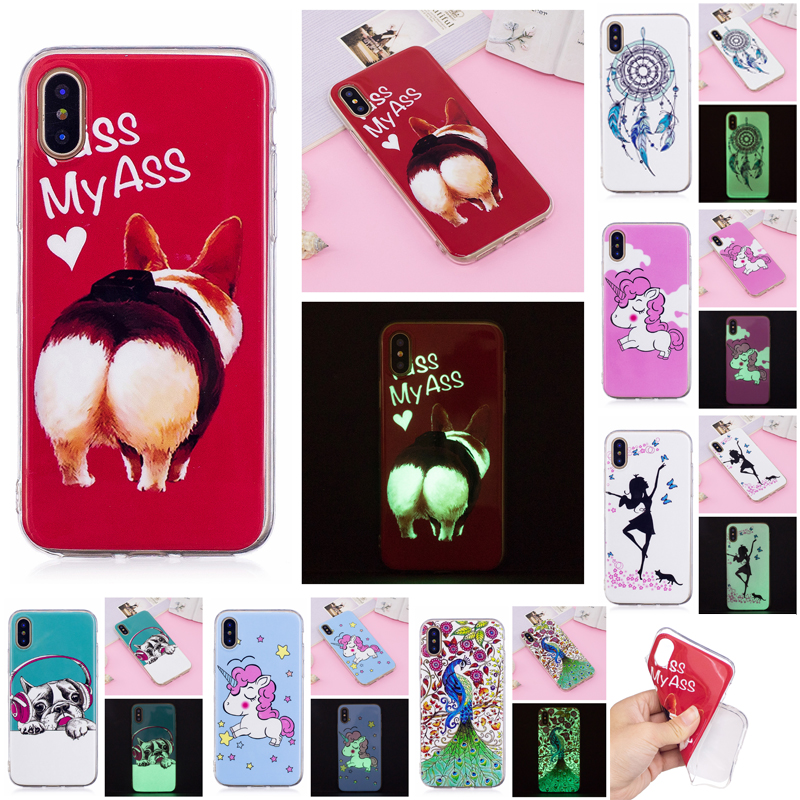 Para o iphone Caso X Luminosa Flor Animal Anime Silicone TPU Pele macio Volta Caso Capa de Telefone para o iphone X Capa para iphoneX