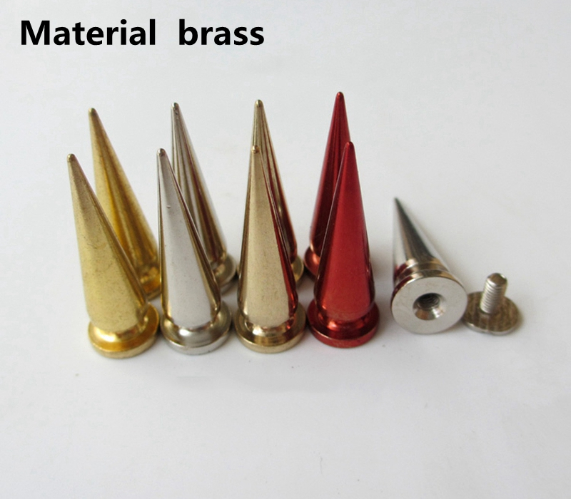 Colorful Trimits Brass Spike Long Garment Rivet Studs With Screws For Bag, Hat, Shoe,leather Chocker Diy Craft Accessory