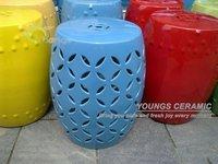 블루 유리 세라믹 중국어 격자 의자 소매 및 도매