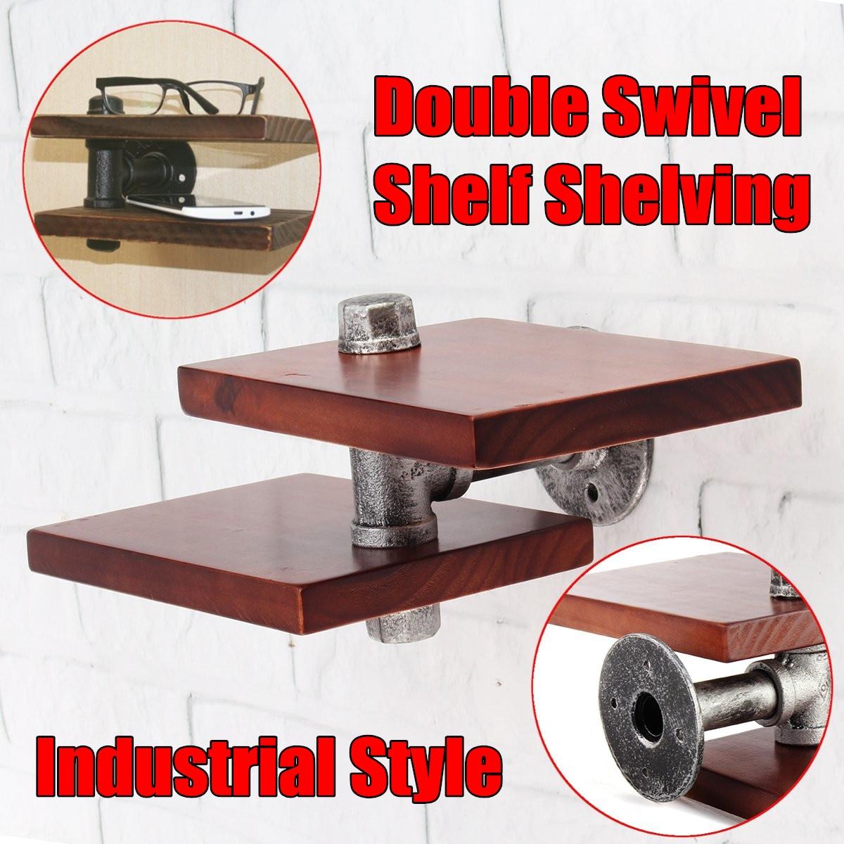 Wall Mount Wood Storage Shelf Iron Pipe Double Swivel Shelf Shelving Adjustable Kitchen Bathroom Shelves Storage Holders
