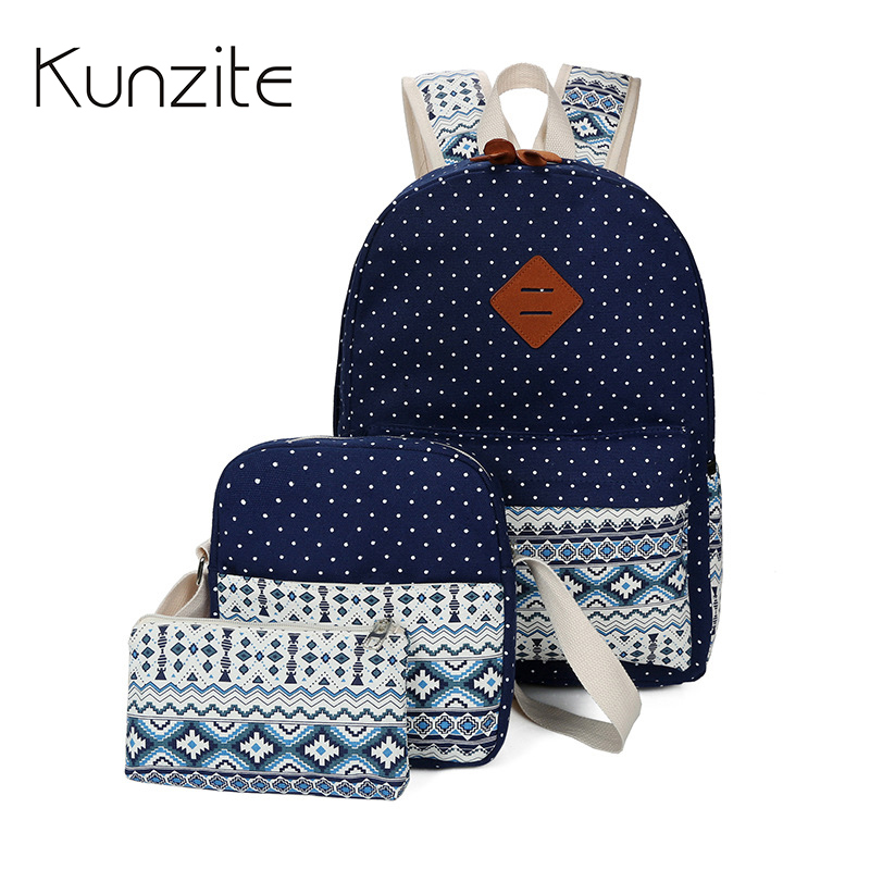 KUNZITE Canvas Women Backpacks Preppy Style School Bag for Teenager Girls Bookbags Laptop Backpack Daypack Mochila 3pcs/set Bag miyahouse preppy style canvas school backpack for teenager girls cute unicorn printed school bag female travel bag