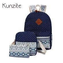 Кунцит Холст Женщины Рюкзаки элегантный дизайн школьная сумка для девочек-подростков Bookbags ноутбук рюкзак Mochila 3 шт./компл. сумка