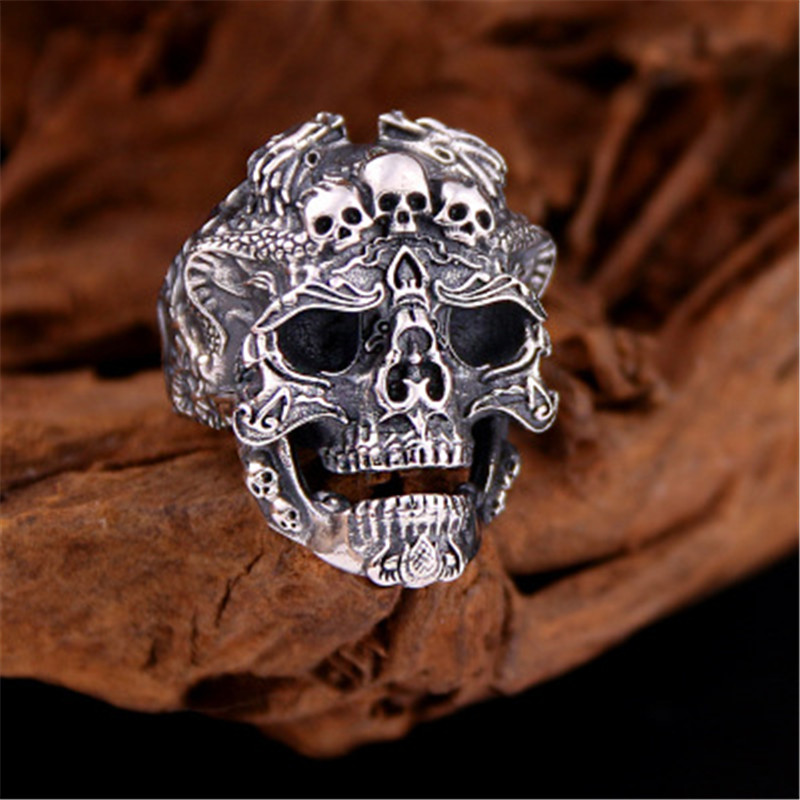 BESTLYBUY Real Solid 925 Sterling Silver Skull Rings For Men Women Retro Vintage Punk Jewerly